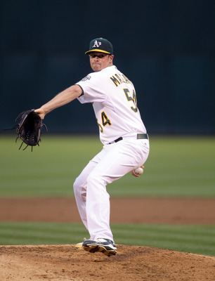OAKLAND, CA - AUGUST 20:  Vin Mazzaro #54 of the Oakland Athletics pitches against the Tampa Bay Rays at the Oakland-Alameda County Coliseum  on August 20, 2010 in Oakland, California.  (Photo by Ezra Shaw/Getty Images)