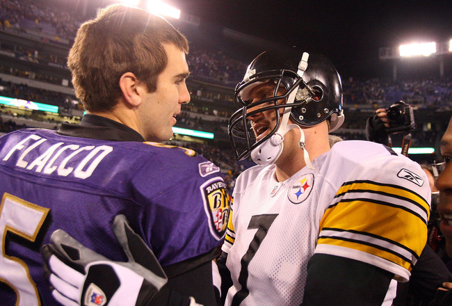 BALTIMORE - DECEMBER 14:  Joe Flacco #5 of the Baltimore Ravens meets with Ben Roethlisberger #7 of the Pittsburgh Steelers on December 14, 2008 at M&T Bank Stadium in Baltimore, Maryland. The Steelers defeated the Ravens 13-9.  (Photo by Jim McIsaac/Gett