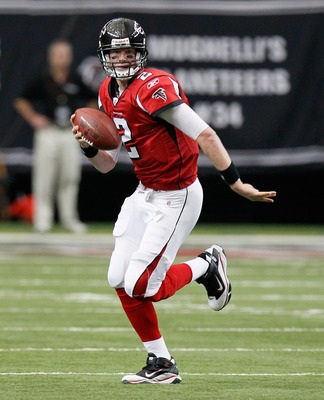 ATLANTA, GA - JANUARY 02:  Quarterback Matt Ryan #2 of the Atlanta Falcons against the Carolina Panthers at Georgia Dome on January 2, 2011 in Atlanta, Georgia.  (Photo by Kevin C. Cox/Getty Images)