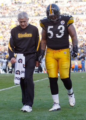 PITTSBURGH - NOVEMBER 21:  Maurkice Pouncey #53 of the Pittsburgh Steelers walks off of the field after injuring his knee during the game against the Oakland Raiders on November 21, 2010 at Heinz Field in Pittsburgh, Pennsylvania.  (Photo by Jared Wickerh