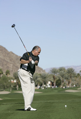 UNITED STATES - JANUARY 20:  Rush Limbaugh in action during the third round of the Bob Hope Chrysler Classic held at the Palmer Private Course at PGA West in La Quinta, California on Friday, January 20, 2006  (Photo by Sam Greenwood/Getty Images)