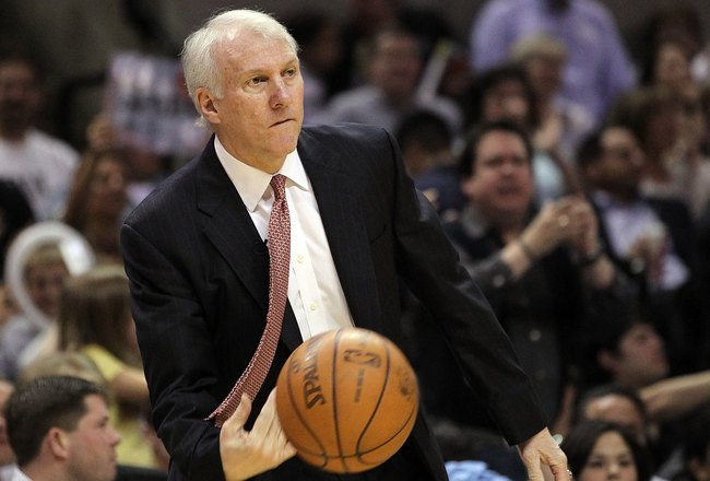 SAN ANTONIO - APRIL 23:  Head coach Gregg Popovich of the San Antonio Spurs in Game Three of the Western Conference Quarterfinals during the 2010 NBA Playoffs at AT&T Center on April 23, 2010 in San Antonio, Texas. NOTE TO USER: User expressly acknowledge