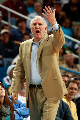 NEW ORLEANS - NOVEMBER 28:  Head coach Gregg Popovich of the San Antonio Spurs reacts to a call during the game against the New Orleans Hornets at the New Orleans Arena on November 28, 2010 in New Orleans, Louisiana.  The Spurs defeated the Hornets 109-95