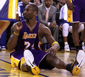 OAKLAND, CA - JANUARY 12: Kobe Bryant #24 of the Los Angeles Lakers reacts after he made a basket and was fouled during their game against the Golden State Warriors at Oracle Arena on January 12, 2011 in Oakland, California. NOTE TO USER: User expressly a