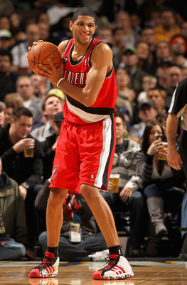 DENVER - DECEMBER 28:  Nicolas Batum #88 of the Portland Trail Blazers controls the ball against the Denver Nuggets at Pepsi Center on December 28, 2010 in Denver, Colorado. The Nuggets defeated the Blazers 95-77. NOTE TO USER: User expressly acknowledges