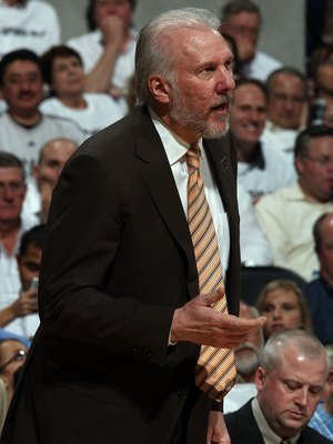 SAN ANTONIO - APRIL 20:  Head coach Gregg Popovich of the San Antonio Spurs during play against the Dallas Mavericks in Game Two of the Western Conference Quarterfinals during the 2009 NBA Playoffs at AT&T Center on April 20, 2009 in San Antonio, Texas. N