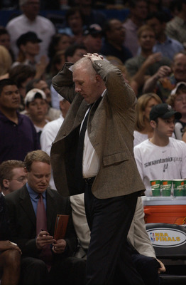 SAN ANTONIO - JUNE 6:  Head coach Gregg Popovich of the San Antonio Spurs paces the sidelines during Game two of the 2003 NBA Finals against the New Jersey Nets at SBC Center on June 6, 2003 in San Antonio, Texas.  The Nets won 87-85.  NOTE TO USER: User