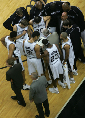 SAN ANTONIO - JUNE 23:  Head coach Gregg Popovich of the San Antonio Spurs talks to his team during a stoppage in play in the first half in Game seven of the 2005 NBA Finals at SBC Center on June 23, 2005 in San Antonio, Texas.  NOTE TO USER: User express