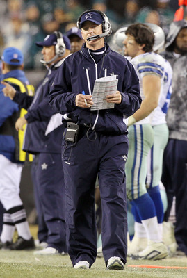 PHILADELPHIA, PA - JANUARY 02:  Head coach Jason Garrett of the Dallas Cowboys looks on against the Philadelphia Eagles on January 2, 2011 at Lincoln Financial Field in Philadelphia, Pennsylvania. The Cowboys defeated the Eagles 14-13.  (Photo by Jim McIs