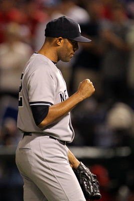 ARLINGTON, TX - OCTOBER 15:  Mariano Rivera #42 of the New York Yankees reacts after the final out of the Yankees 6-5 win against the Texas Rangers in Game One of the ALCS during the 2010 MLB Playoffs at Rangers Ballpark in Arlington on October 15, 2010 i