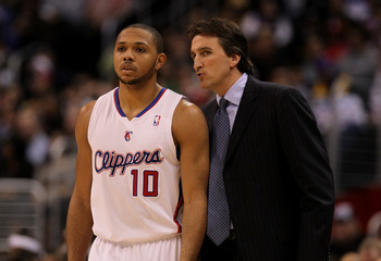 LOS ANGELES, CA - DECEMBER 8: Head coach Vinny Del Negro and Eric Gordon #109 of the Los Angeles Clippers talk during the game with the Los Angeles Lakers at Staples Center on December 8, 2010 in Los Angeles, California. The Lakers won 87-86.  NOTE TO USE