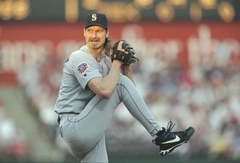 19 Jun 1997:  Pitcher Randy Johnson of the Seattle Mariners winds up to throw a pitch during the Mariners 2-1 win over the Texas Rangers at the Ball Park in Arlington in Arlington, Texas. Mandatory Credit: Stephen Dunn  /Allsport