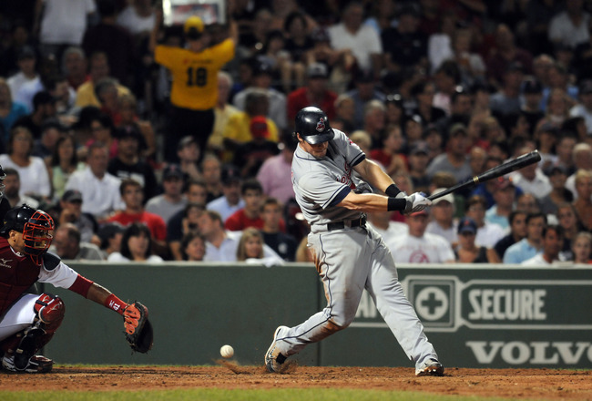 BOSTON, MA - AUGUST 5:  Matt LaPorta #7 of the Cleveland Indians fouls one off in the sixth inning against the Boston Red Sox August 5, 2010 at Fenway Park in Boston, Massachusetts. (Photo by Darren McCollester/Getty Images)