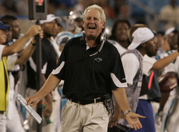CHARLOTTE, NC - AUGUST 21: Head coach John Fox of the Carolina Panthers reacts to a call during a preseason game against the New York Jets at Bank of America Stadium on August 21, 2010 in Charlotte, North Carolina. (Photo by Mary Ann Chastain/Getty Images