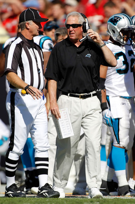 TAMPA, FL - NOVEMBER 14:  Head coach John Fox of the Carolina Panthers talks with an official during the game against the Tampa Bay Buccaneers at Raymond James Stadium on November 14, 2010 in Tampa, Florida.  (Photo by J. Meric/Getty Images)