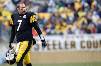 PITTSBURGH - DECEMBER 12:  Ben Roethlisberger #7 of the Pittsburgh Steelers walks back to the bench during the game against the Cincinnati Bengals on December 12, 2010 at Heinz Field in Pittsburgh, Pennsylvania.  (Photo by Jared Wickerham/Getty Images)