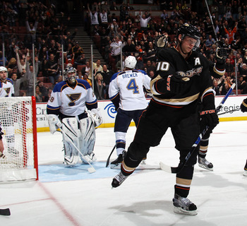 ANAHEIM, CA - JANUARY 12: Corey Perry #10 of the Anaheim Ducks scores at 6:17 of the third period against the St. Louis Blues at the Honda Center on January 12, 2011 in Anaheim, California. The Ducks defeated the Blues 7-4. (Photo by Bruce Bennett/Getty I