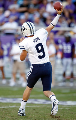 FORT WORTH, TX - OCTOBER 16:  Quarterback Jake Heaps #9 of the BYU Cougars throws a pass against the TCU Horned Frogs at Amon G. Carter Stadium on October 16, 2010 in Fort Worth, Texas. TCU beat BYU 31-3. (Photo by Tom Pennington/Getty Images)