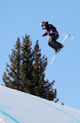 ASPEN, CO - JANUARY 28:  Sarah Burke of Canada does an aerial maneuver as she descends the course to finish sixth in the Women's Skiing Slopestyle Finals during Winter X Games 14 at Buttermilk Mountain on January 28, 2010 in Aspen, Colorado.  (Photo by Do