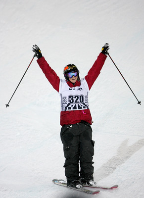 ASPEN, CO - JANUARY 23:  Sarah Burke of Whistler, Canada celebrates as she wins the gold medal in the Women's Skiing Superpipe at Winter X Games 13 on Buttermilk Mountain on January 23, 2009 in Aspen, Colorado.  (Photo by Doug Pensinger/Getty Images)