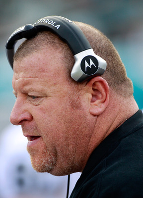 JACKSONVILLE, FL - DECEMBER 12:  Head coach Tom Cable of the Oakland Raiders watches the action during the game against the Jacksonville Jaguars at EverBank Field on December 12, 2010 in Jacksonville, Florida.  (Photo by Sam Greenwood/Getty Images)