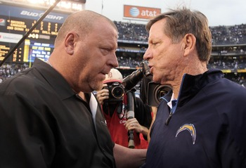 SAN DIEGO, CA - DECEMBER 5: Head Coach Tom Cable of the Oakland Raiders shakes the hand of Head Coach Norv Turner of the San Diego Chargers after the Raiders 24-13 victory during their NFL game at Qualcomm Stadium on December 5, 2010 in San Diego, Califor