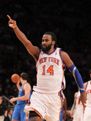 NEW YORK - DECEMBER 22:  Ronny Turiaf #14 of the New York Knicks in action against the Oklahoma City Thunder at Madison Square Garden on December 22, 2010 in New York, New York.   NOTE TO USER: User expressly acknowledges and agrees that, by downloading a