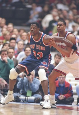 4 Dec 1996:  Center Patrick Ewing of the New York Knicks fights for position during a game against the New Jersey Nets at the Continential Airlines Arena in East Rutherford, New Jersey.  The Knicks won the game 109-102. Mandatory Credit: Al Bello  /Allspo
