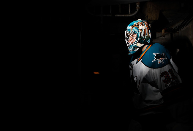 PHILADELPHIA, PA - DECEMBER 08:  Antti Niemi #31 of the San Jose Sharks walks out onto the ice prior to their game against the Philadelphia Flyers on December 8, 2010 at the Wells Fargo Center in Philadelphia, Pennsylvania.  (Photo by Mike Stobe/Getty Ima