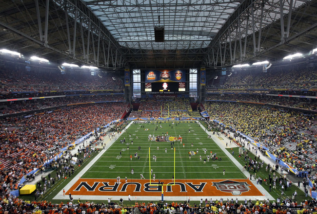 GLENDALE, AZ - JANUARY 10:  A general view of the scoreboard before the Tostitos BCS National Championship Game between the Oregon Ducks and the Auburn Tigers at University of Phoenix Stadium on January 10, 2011 in Glendale, Arizona.  (Photo by Christian