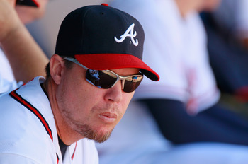 ATLANTA - SEPTEMBER 15:  Chipper Jones #10 of the Atlanta Braves against the Washington Nationals at Turner Field on September 15, 2010 in Atlanta, Georgia.  (Photo by Kevin C. Cox/Getty Images)