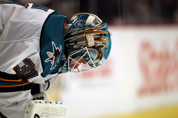 CHICAGO, IL - DECEMBER 30: Antti Niemi #31 of the San Jose Sharks takes a break during a game against the Chicago Blackhawks at the United Center on December 30, 2010 in Chicago, Illinois. The Sharks defeated the Blackhawks 5-3. (Photo by Jonathan Daniel/