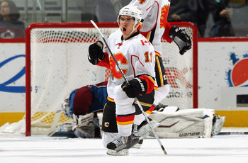 DENVER - NOVEMBER 09:  Mikael Backlund #11 of the Calgary Flames celebrates his third period goal against goalie Peter Budaj #31 of the Colorado Avalanche to tie the score 2-2 at the Pepsi Center on November 9, 2010 in Denver, Colorado. The Flames defeate
