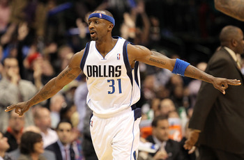 DALLAS, TX - JANUARY 04:  Guard Jason Terry #31 of the Dallas Mavericks reacts  after making a three point shot against the Portland Trail Blazers at American Airlines Center on January 4, 2011 in Dallas, Texas.  NOTE TO USER: User expressly acknowledges