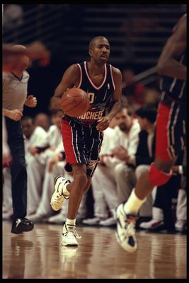 3 Jan 1996:  Kenny Smith of the Houston Rockets moves downcourt against the Chicago Bulls during a game played at the United Center in Chicago, Illinois.  The Bulls won the game, 100-86. Mandatory Credit: Jonathan Daniel/Allsport