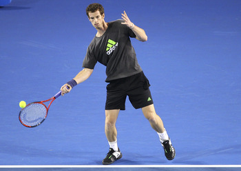 MELBOURNE, AUSTRALIA - JANUARY 14: Andy Murray of Great Britain hits a forehand during a practice session ahead of the 2011 Australian Open at Melbourne Park on January 14, 2011 in Melbourne, Australia. (Photo by Lucas Dawson/Getty Images)