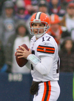 ORCHARD PARK, NY - DECEMBER 12:  Jake Delhomme #17 of the Cleveland Browns readies to pass against the Buffalo Bills  at Ralph Wilson Stadium on December 12, 2010 in Orchard Park, New York. Buffalo won 13-6. (Photo by Rick Stewart/Getty Images)