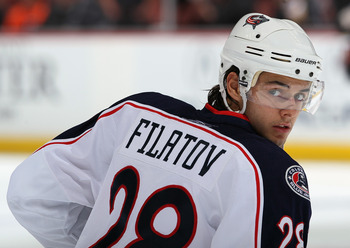 ANAHEIM, CA - NOVEMBER 19:  Nikita Filatov #28 of the Columbus Blue Jackets looks on prior to the start of the game against the Anaheim Ducks at the Honda Center on November 19, 2010 in Anaheim, California.  (Photo by Jeff Gross/Getty Images)