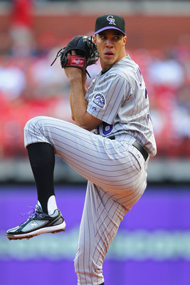 ST. LOUIS - OCTOBER 2: Starter Ubaldo Jimenez #38 of the Colorado Rockies pitches against the St. Louis Cardinals at Busch Stadium on October 2, 2010 in St. Louis, Missouri.  The Cardinals beat the Rockies 1-0 in 11 innings.  (Photo by Dilip Vishwanat/Get