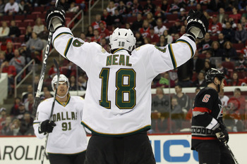 RALEIGH, NC - NOVEMBER 29: Brad Richards #91 and James Neal #18 of the Dallas Stars celebrate Neal's first period goal against the Carolina Hurricanes at the RBC Center on November 29, 2010 in Raleigh, North Carolina.  (Photo by Bruce Bennett/Getty Images