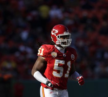 KANSAS CITY, MO - DECEMBER 20:  Corey Mays #51 of the Kansas City Chiefs runs onto the field during their NFL game against the Cleveland Browns on December 20, 2009 at Arrowhead Stadium in Kansas City, Missouri. The Browns defeated the Chiefs 41-34. (Phot