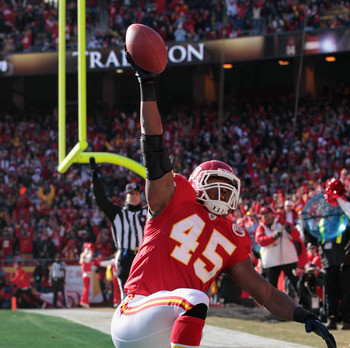 KANSAS CITY, MO - DECEMBER 05:  Leonard Pope #45 of the Kansas City Chiefs celebrates after making a catch in the endzone for a touchdown during the game against the Denver Broncos on December 5, 2010 at Arrowhead Stadium in Kansas City, Missouri.  (Photo