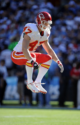 SAN DIEGO, CA - DECEMBER 12:  Jon McGraw #47 of the Kansas City Chiefs stretches against the San Diego Chargers at Qualcomm Stadium on December 12, 2010 in San Diego, California.  (Photo by Harry How/Getty Images)