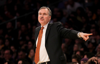LOS ANGELES, CA - JANUARY 09:  Head coach Mike D'Antoni of the New York Knicks gestures in the game with the Los Angeles Lakers at Staples Center on January 9, 2011 in Los Angeles, California.  The Lakers won 109-87.   NOTE TO USER: User expressly acknowl