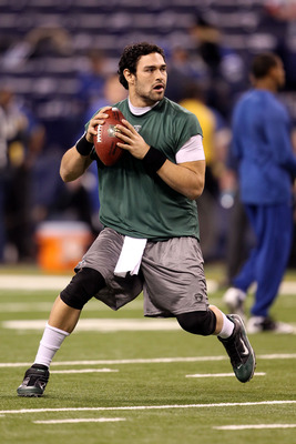 INDIANAPOLIS, IN - JANUARY 08:  Quarterback Mark Sanchez #6 of the New York Jets warms up against the Indianapolis Colts during their 2011 AFC wild card playoff game at Lucas Oil Stadium on January 8, 2011 in Indianapolis, Indiana.  (Photo by Andy Lyons/G