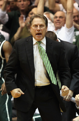 DURHAM, NC - DECEMBER 01:  Head coach Tom Izzo of the Michigan State Spartans reacts to a call against the Duke Blue Devils during their game at Cameron Indoor Stadium on December 1, 2010 in Durham, North Carolina.  (Photo by Streeter Lecka/Getty Images)