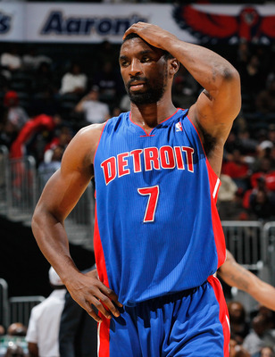 ATLANTA - NOVEMBER 03:  Ben Gordon #7 of the Detroit Pistons reacts after being called for a foul against the Atlanta Hawks at Philips Arena on November 3, 2010 in Atlanta, Georgia.  NOTE TO USER: User expressly acknowledges and agrees that, by downloadin