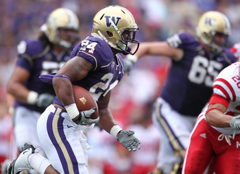 SEATTLE - SEPTEMBER 18: Running back Jesse Callier #24 of the Washington Huskies rushes against the Nebraska Cornhuskers on September 18, 2010 at Husky Stadium in Seattle, Washington. (Photo by Otto Greule Jr/Getty Images)