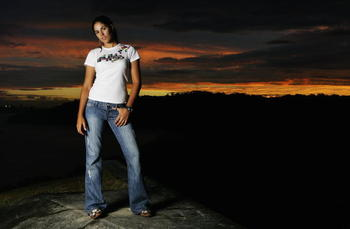 SYDNEY, AUSTRALIA - APRIL 13: Australian pro-golfer Nikki Garrett poses for a portrait at Middle Head April 13, 2006 in Sydney, Australia. Garrett recently turned professional and has qualified for the 2006 Ladies European Tour. (Photo by Cameron Spencer/