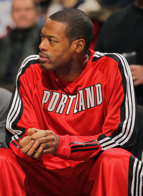 DENVER - DECEMBER 28:  Marcus Camby #23 of the Portland Trail Blazers sits out the game on the bench against the Denver Nuggets at Pepsi Center on December 28, 2010 in Denver, Colorado. The Nuggets defeated the Blazers 95-77. NOTE TO USER: User expressly
